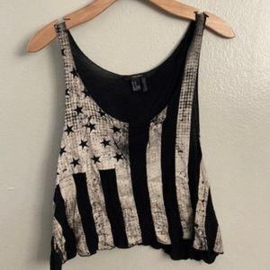 Forever 21 Distressed American Flag Top